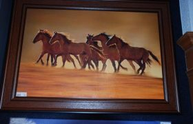 Night Runners by Lisa Dearing, brown wood framed 43 x 31 $179.99